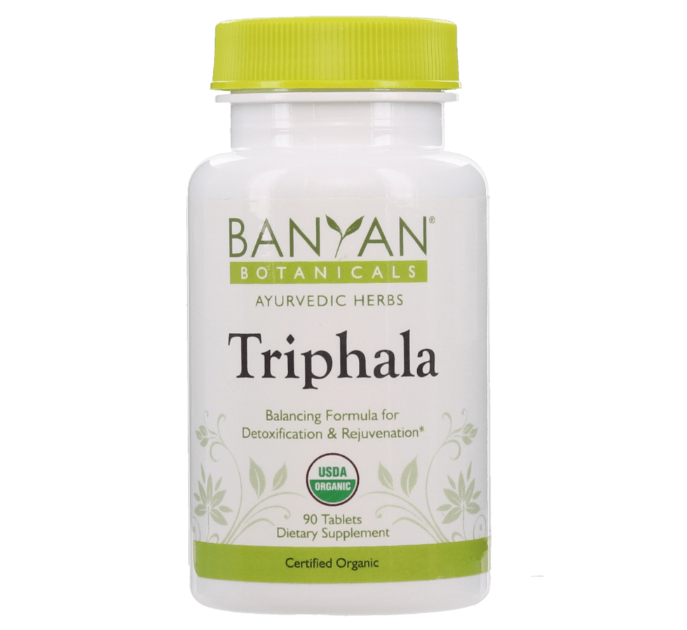 Triphala tablets, certified organic by Banyan