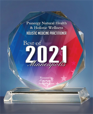 Psinergy Natural Health & Holistic Wellness has been selected for the 2021 Best of Minneapolis Award in the Holistic Medicine Practitioner category by the Minneapolis Award Program