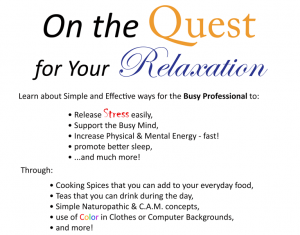 On the Quest for Your Relaxation… Simple Stress Reducers for the Busy Professional @ Psinergy Natural Health & Holistic Wellness | Saint Paul | Minnesota | United States