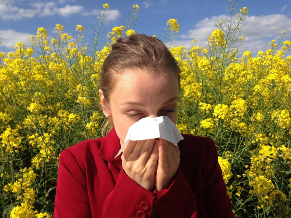 A person having issues with seasonal allergies