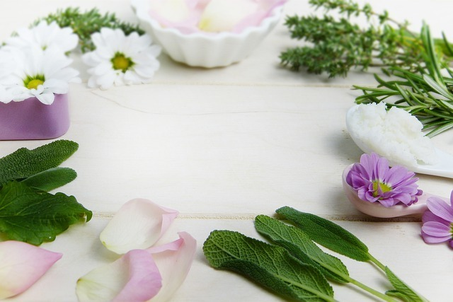 Mint, Rosemary, rose petals, flowers, and other herbs in a circle