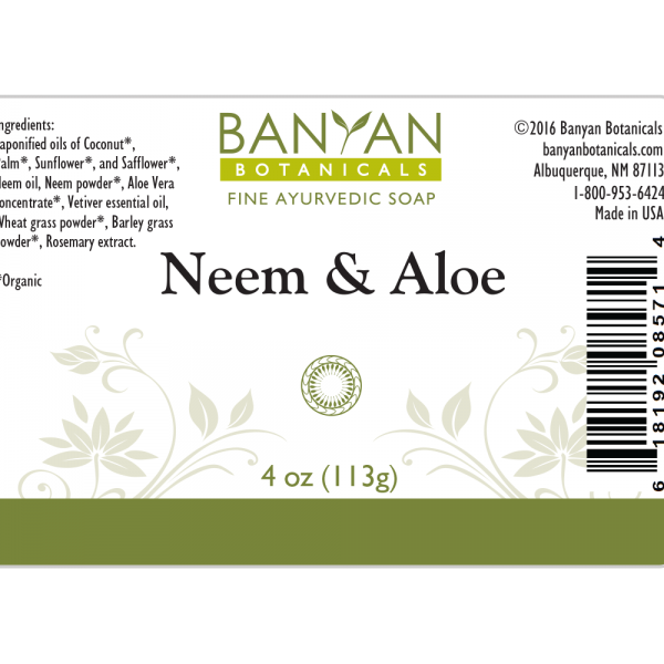 Neem Aloe Soap 3.5 oz - Banyan Botanicals ingredients